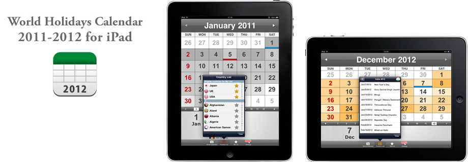 World Holidays Calendar 2011-2012 for iPad