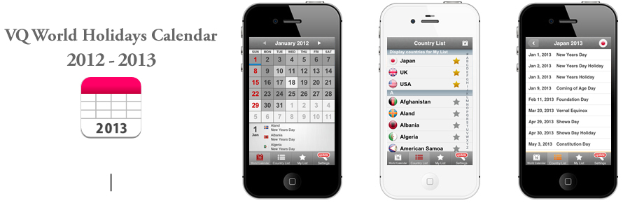 Vq World Holidays Calendar 2012 2013 For Iphone Calendar App